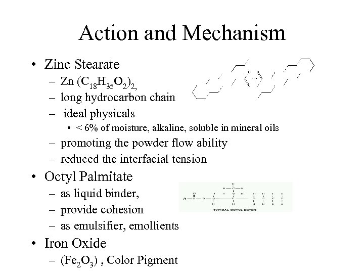 Action and Mechanism • Zinc Stearate – Zn (C 18 H 35 O 2)2,