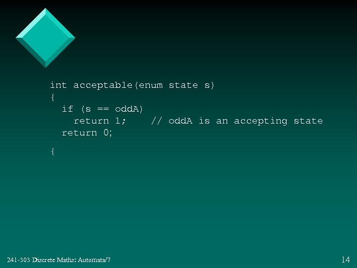 int acceptable(enum state s) { if (s == odd. A) return 1; // odd.