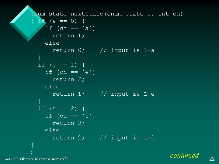 enum state next. State(enum state s, int ch) { if (s == 0) {