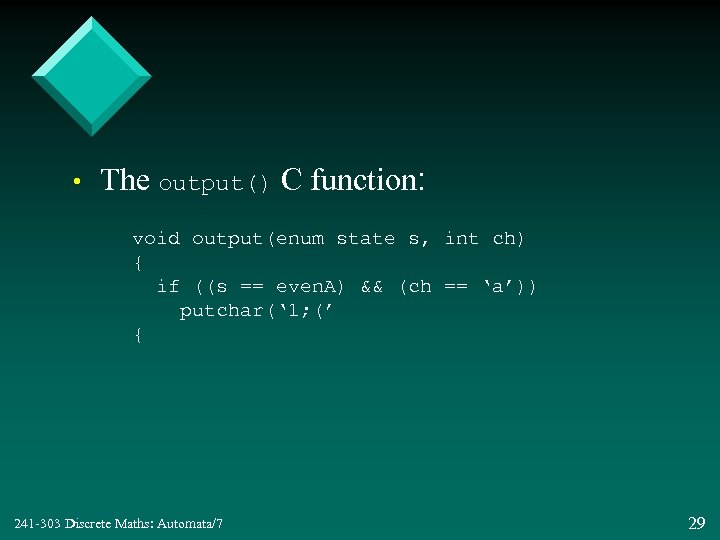 • The output() C function: void output(enum state s, int ch) { if