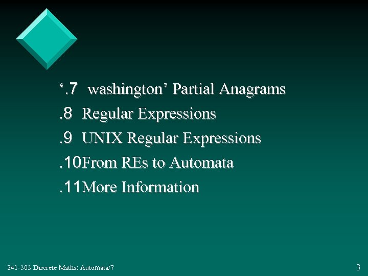 '. 7 washington' Partial Anagrams. 8 Regular Expressions. 9 UNIX Regular Expressions. 10 From