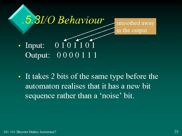 . 5. 3 I/O Behaviour smoothed away in the output • Input: 0 1