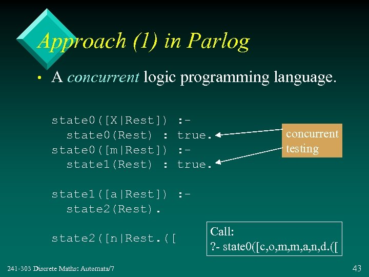 Approach (1) in Parlog • A concurrent logic programming language. state 0([X|Rest]) state 0(Rest)
