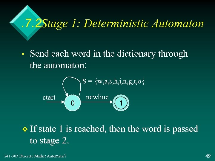 . 7. 2 Stage 1: Deterministic Automaton • Send each word in the dictionary