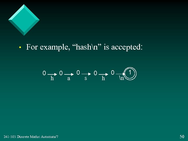 "• For example, ""hashn"" is accepted: 0 h 241 -303 Discrete Maths: Automata/7"