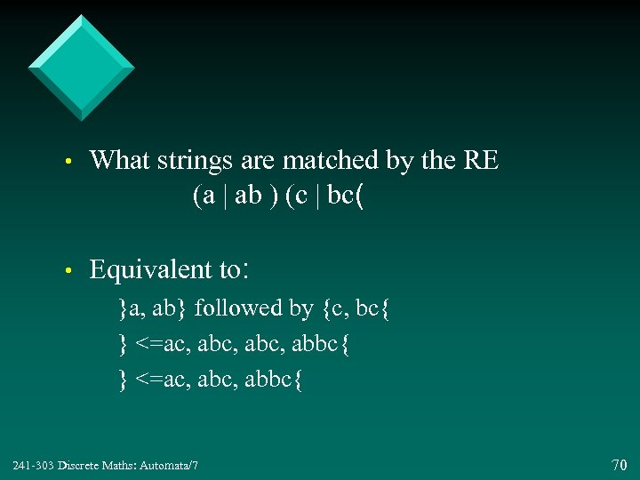 • What strings are matched by the RE (a | ab ) (c