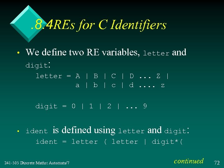 . 8. 4 REs for C Identifiers • We define two RE variables, letter