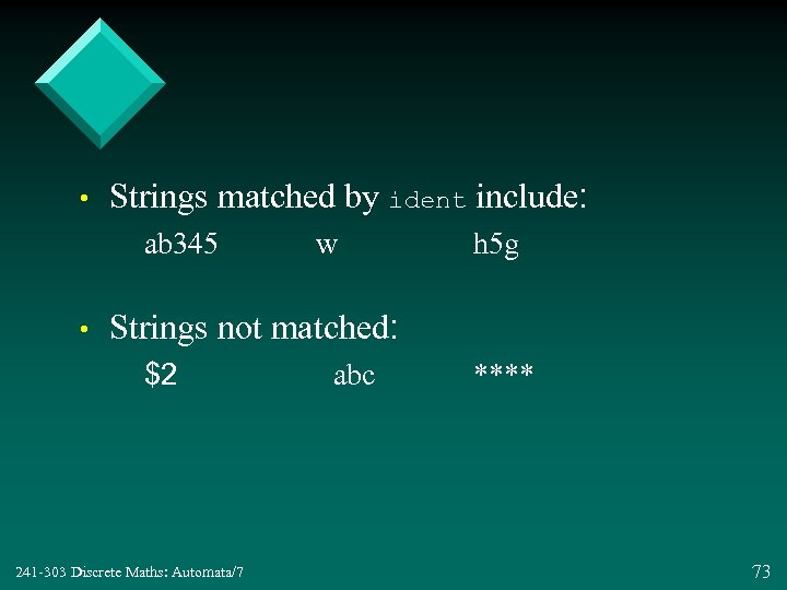 • Strings matched by ident include: ab 345 • w h 5 g
