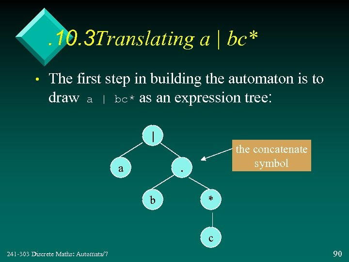 . 10. 3 Translating a | bc* • The first step in building the