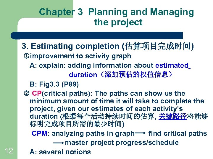 Chapter 3 Planning and Managing the project 3. Estimating completion (估算项目完成时间) 12 improvement to