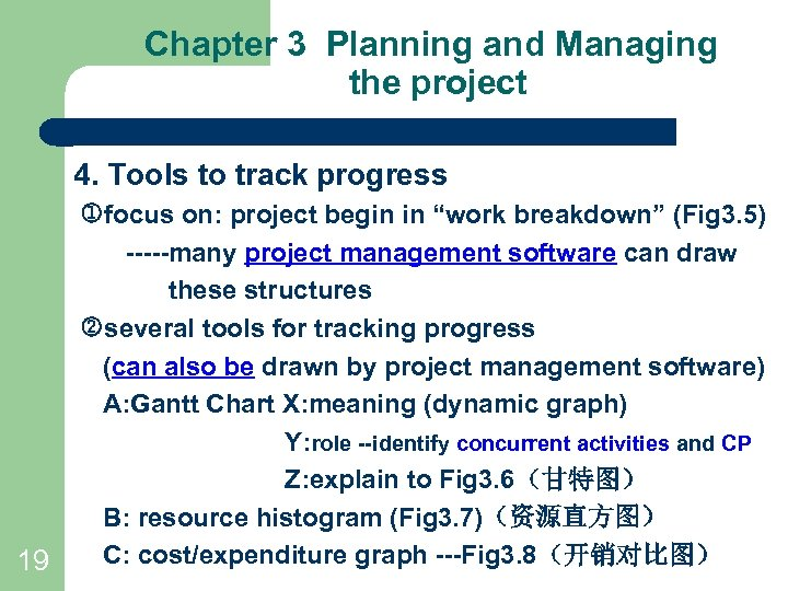 Chapter 3 Planning and Managing the project 4. Tools to track progress 19 focus
