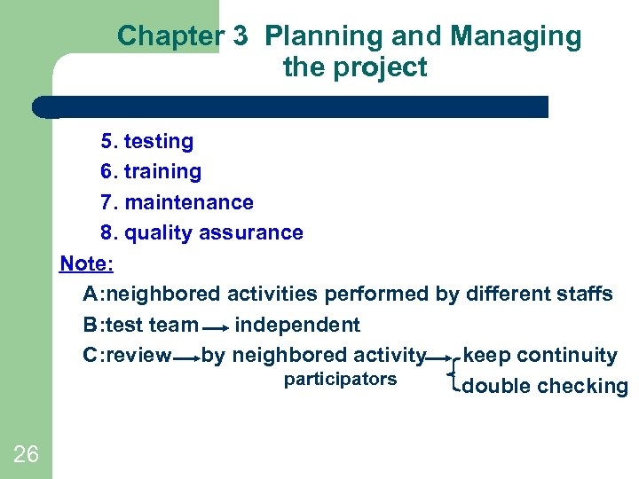 Chapter 3 Planning and Managing the project 5. testing 6. training 7. maintenance 8.
