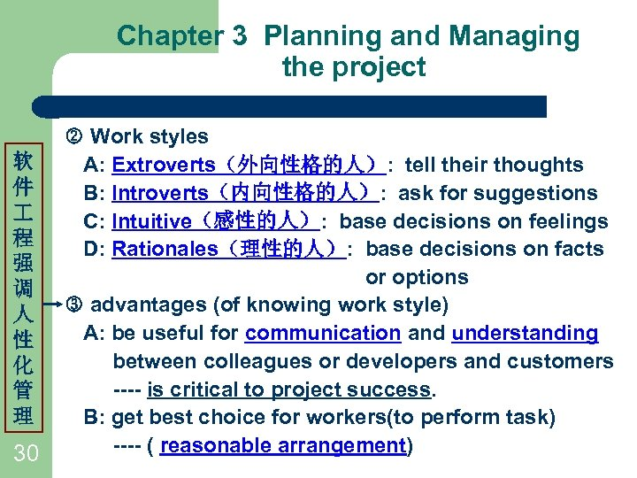 Chapter 3 Planning and Managing the project 软 件 程 强 调 人 性