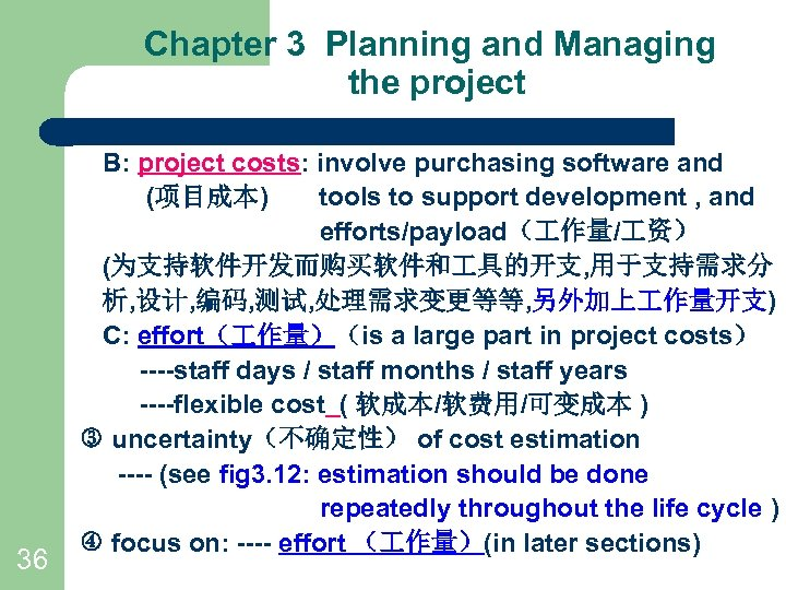 Chapter 3 Planning and Managing the project 36 B: project costs: involve purchasing software