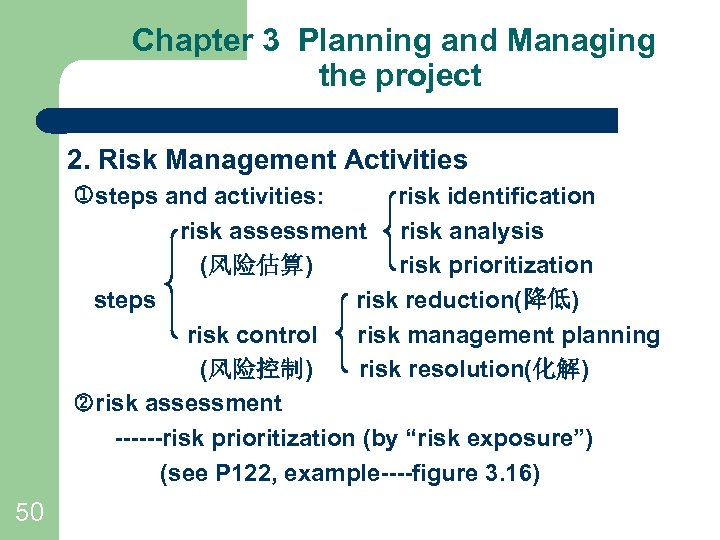 Chapter 3 Planning and Managing the project 2. Risk Management Activities steps and activities: