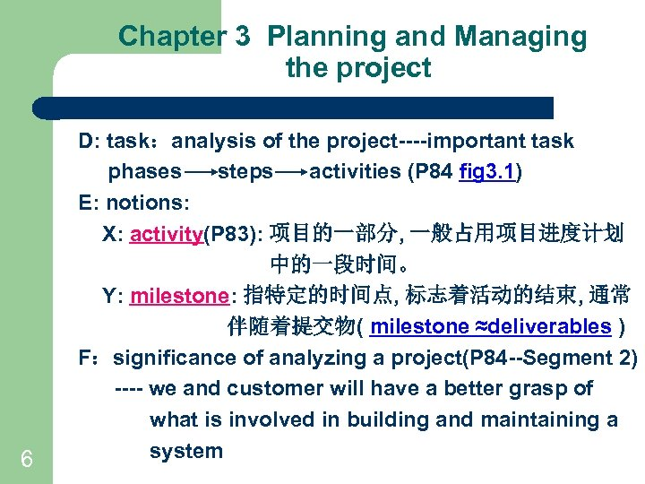 Chapter 3 Planning and Managing the project 6 D: task:analysis of the project----important task
