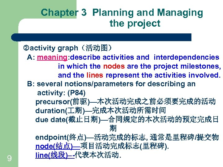 Chapter 3 Planning and Managing the project 9 activity graph(活动图) A: meaning: describe activities