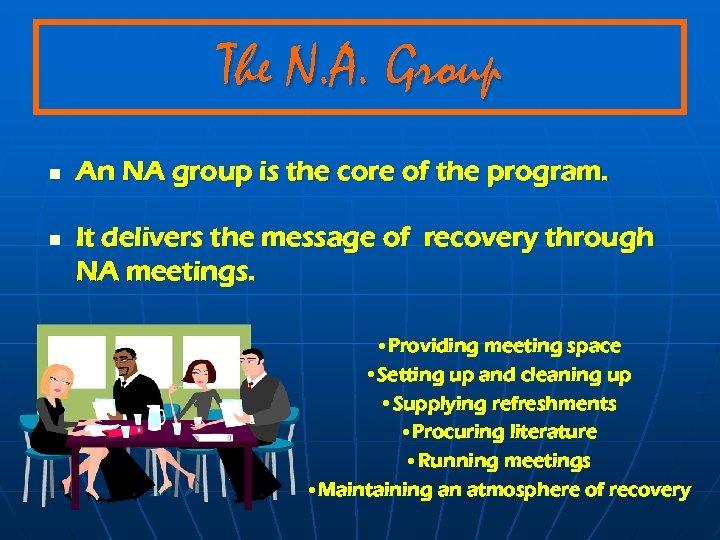 The N. A. Group n n An NA group is the core of the