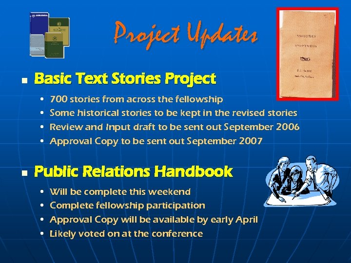 Project Updates n Basic Text Stories Project • • n 700 stories from across