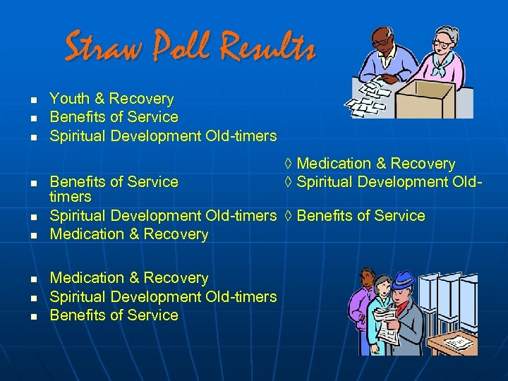 Straw Poll Results n n n n n Youth & Recovery Benefits of Service