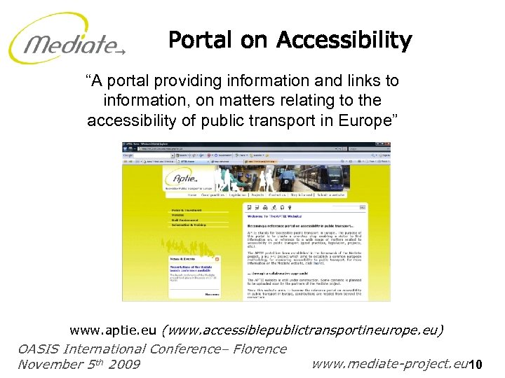 "Portal on Accessibility ""A portal providing information and links to information, on matters relating"