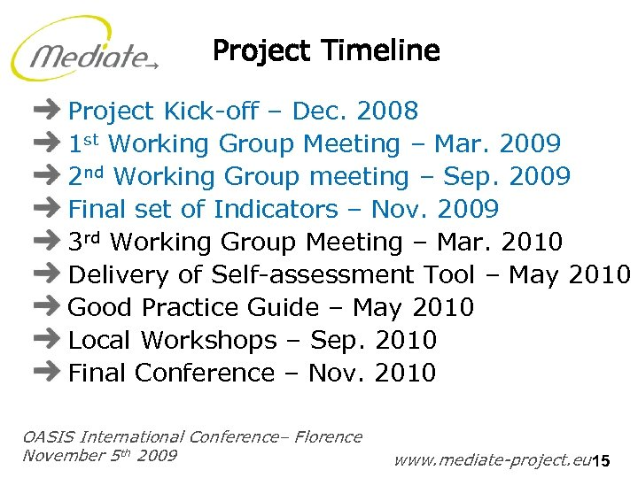 Project Timeline Project Kick-off – Dec. 2008 1 st Working Group Meeting – Mar.