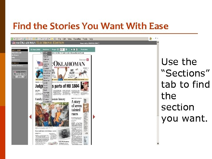"""Find the Stories You Want With Ease Use the """"Sections"""" tab to find the"""
