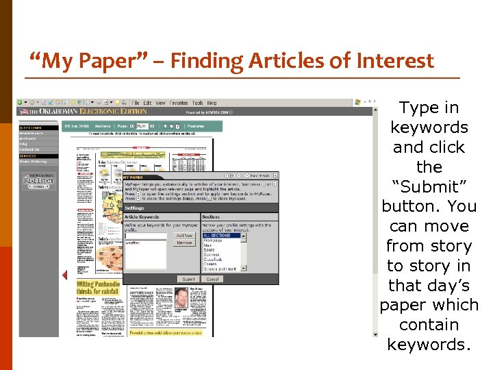 """""""My Paper"""" – Finding Articles of Interest Type in keywords and click the """"Submit"""""""