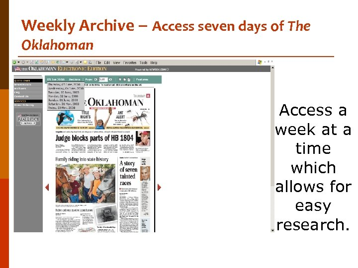Weekly Archive – Access seven days of The Oklahoman Access a week at a