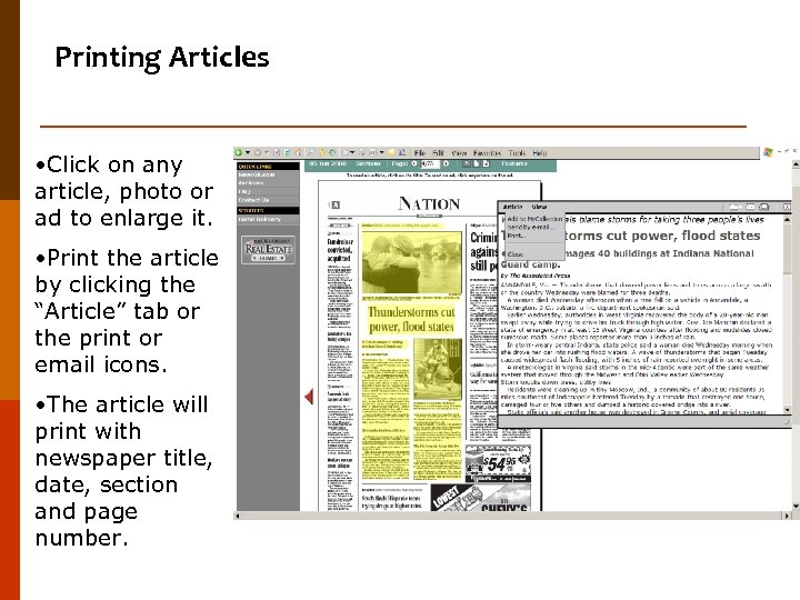 Printing Articles • Click on any article, photo or ad to enlarge it. •