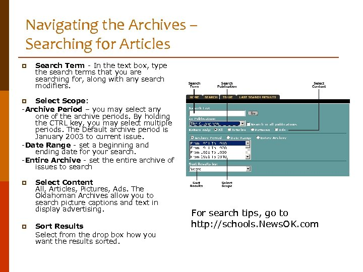 Navigating the Archives – Searching for Articles p Search Term - In the text