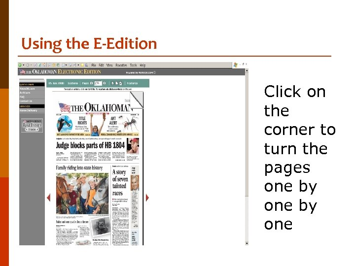 Using the E-Edition Click on the corner to turn the pages one by one