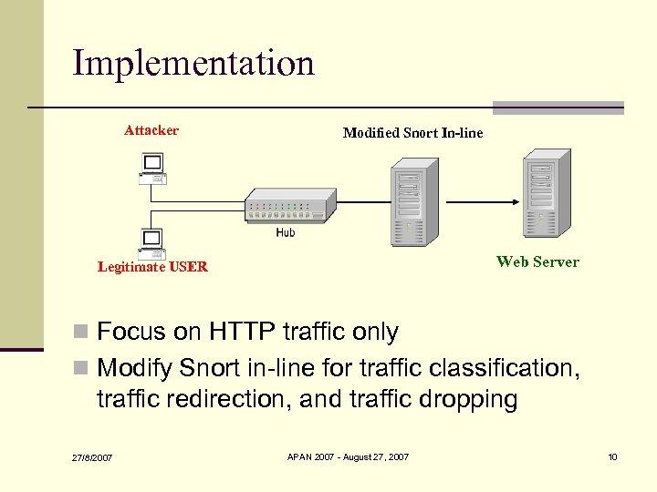 Implementation Attacker Modified Snort In-line Web Server Legitimate USER n Focus on HTTP traffic