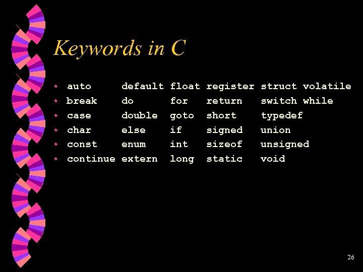 Keywords in C w w w auto break case char const continue default do