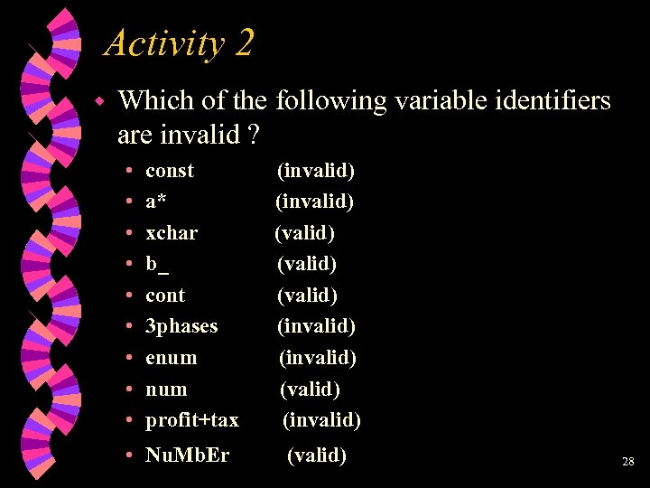 Activity 2 w Which of the following variable identifiers are invalid ? • •