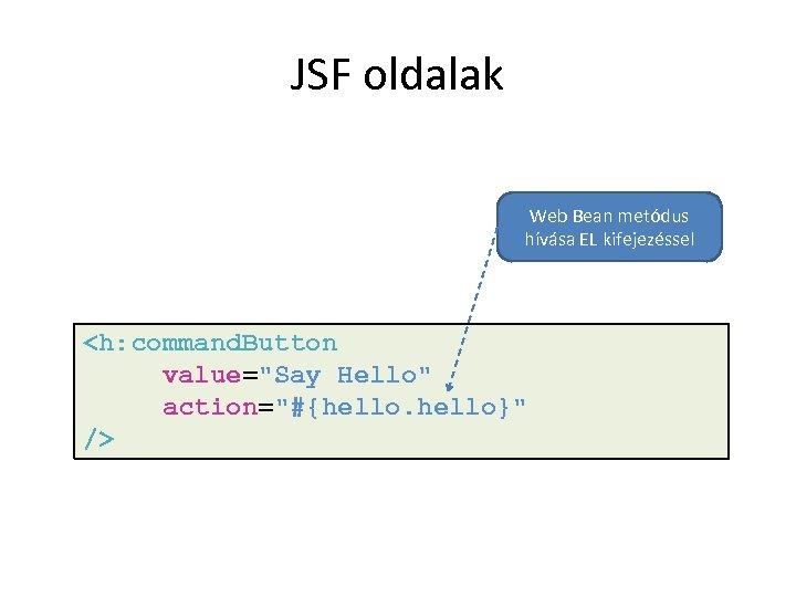 JSF oldalak Web Bean metódus hívása EL kifejezéssel <h: command. Button value=