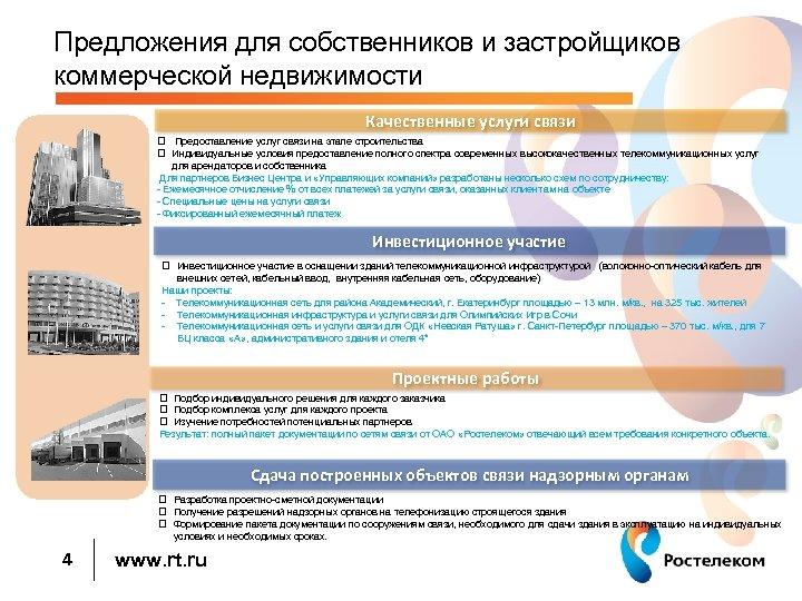 Предложения для собственников и застройщиков коммерческой недвижимости Качественные услуги связи q Предоставление услуг связи