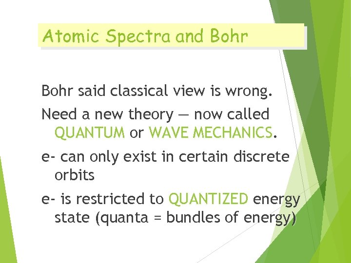 Atomic Spectra and Bohr said classical view is wrong. Need a new theory —