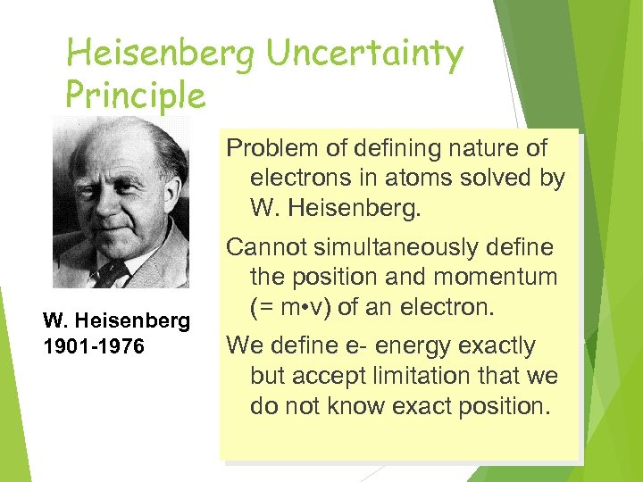 Heisenberg Uncertainty Principle Problem of defining nature of electrons in atoms solved by W.