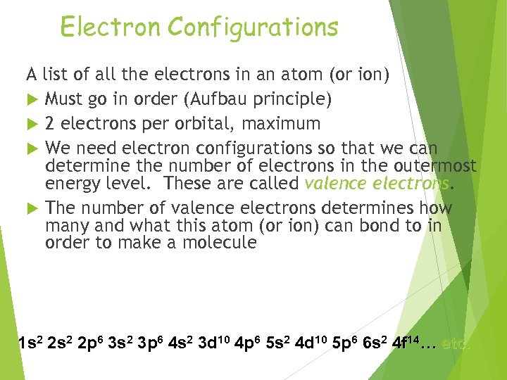 Electron Configurations A list of all the electrons in an atom (or ion) Must
