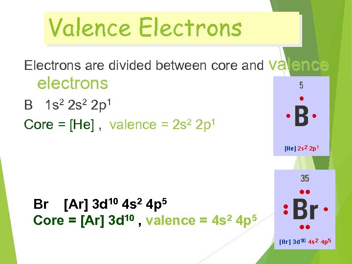 Valence Electrons are divided between core and valence electrons B 1 s 2 2