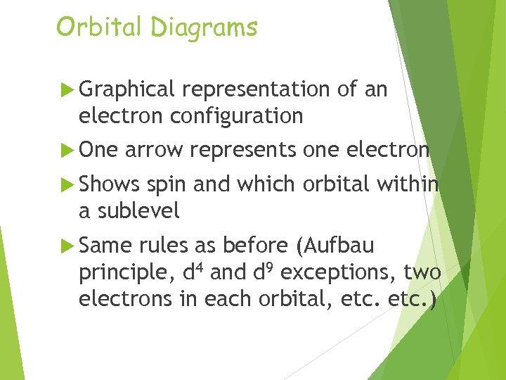 Orbital Diagrams Graphical representation of an electron configuration One arrow represents one electron Shows