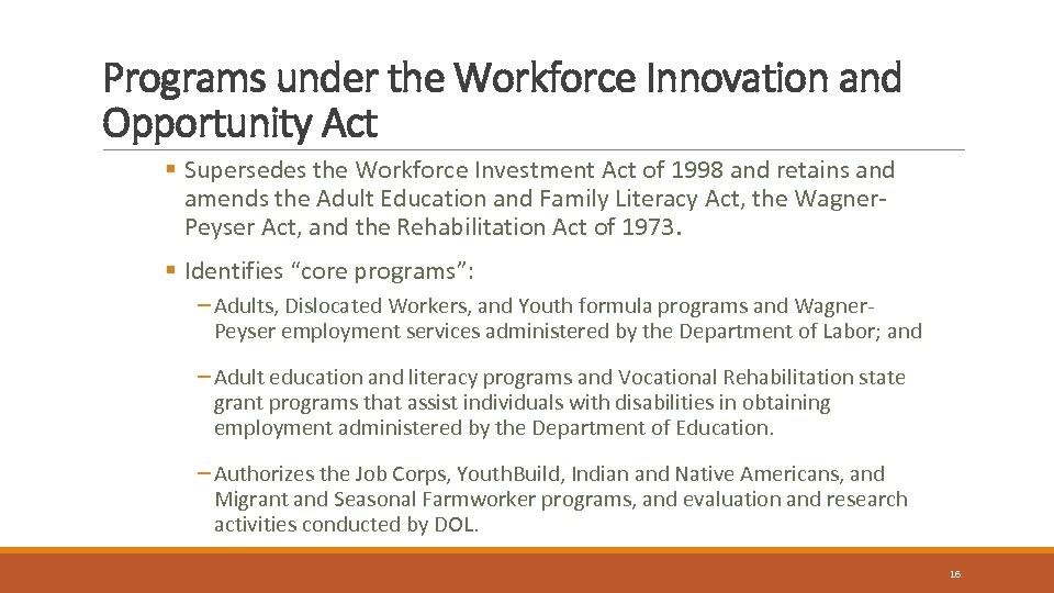 Programs under the Workforce Innovation and Opportunity Act § Supersedes the Workforce Investment Act