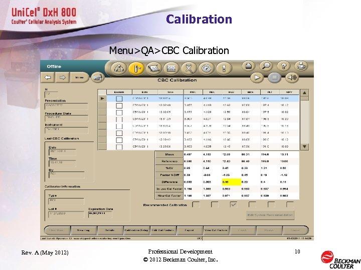 Calibration Menu>QA>CBC Calibration Rev. A (May 2012) Professional Development © 2012 Beckman Coulter, Inc.