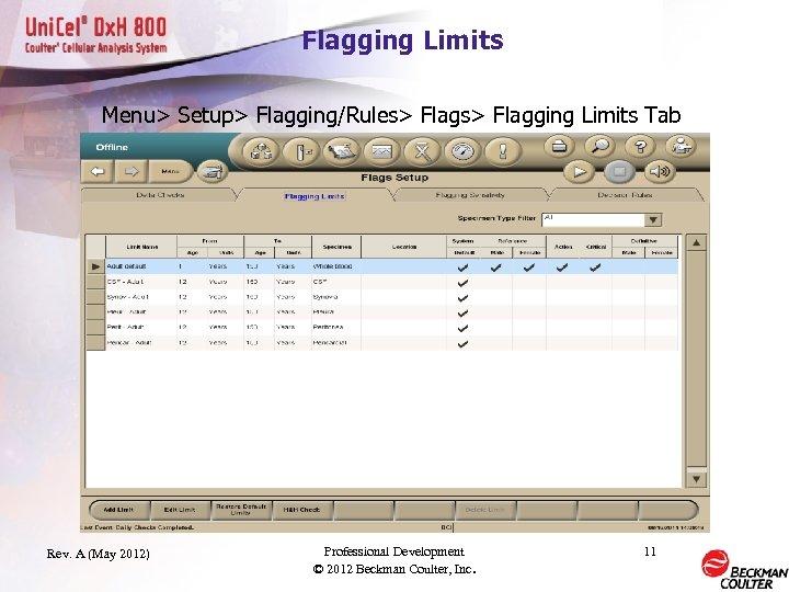 Flagging Limits Menu> Setup> Flagging/Rules> Flagging Limits Tab Rev. A (May 2012) Professional Development