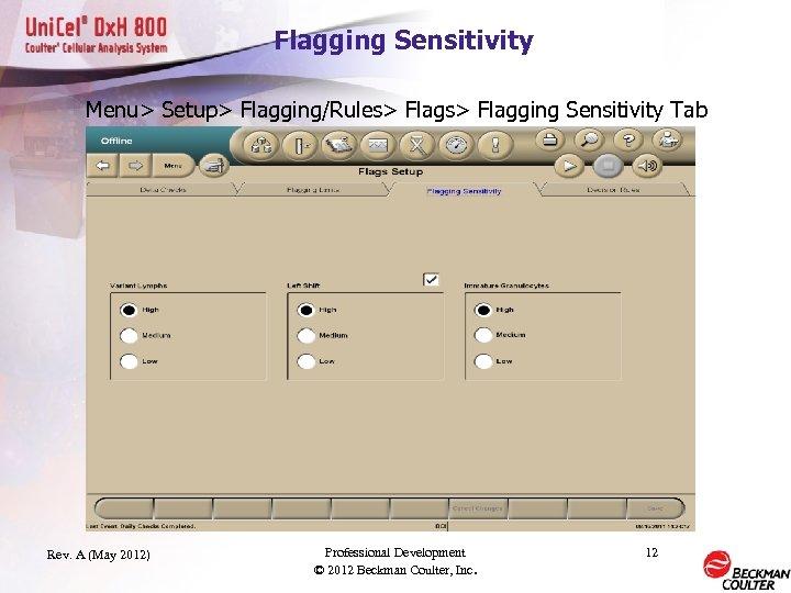 Flagging Sensitivity Menu> Setup> Flagging/Rules> Flagging Sensitivity Tab Rev. A (May 2012) Professional Development