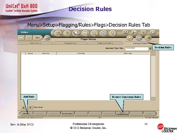Decision Rules Menu>Setup>Flagging/Rules>Flags>Decision Rules Tab Decision Rules Add Rule Rev. A (May 2012) Restore