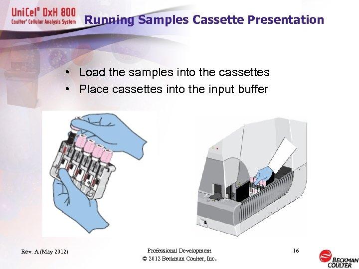 Running Samples Cassette Presentation • Load the samples into the cassettes • Place cassettes
