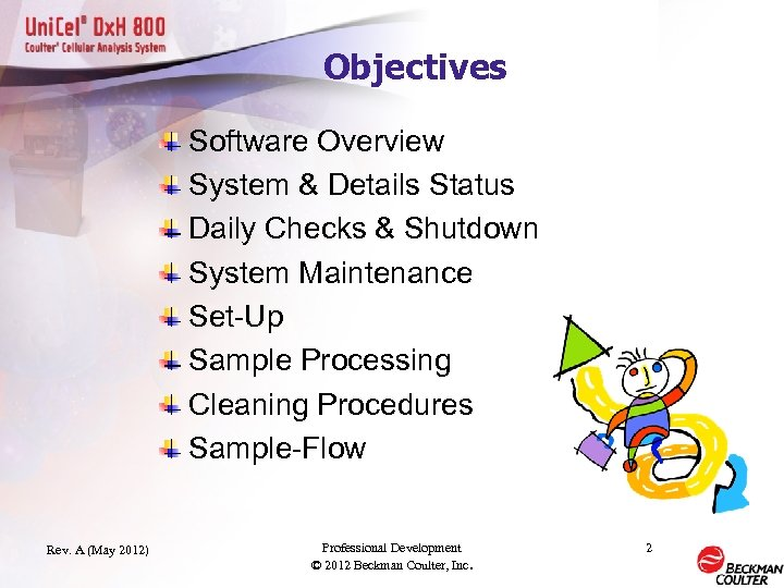 Objectives Software Overview System & Details Status Daily Checks & Shutdown System Maintenance Set-Up