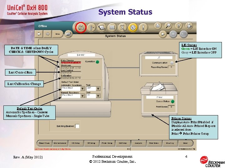 System Status LIS Status: Green = LIS Interface ON Gray = LIS Interface OFF